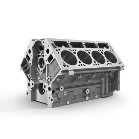 An image of a silver engine cylinder block